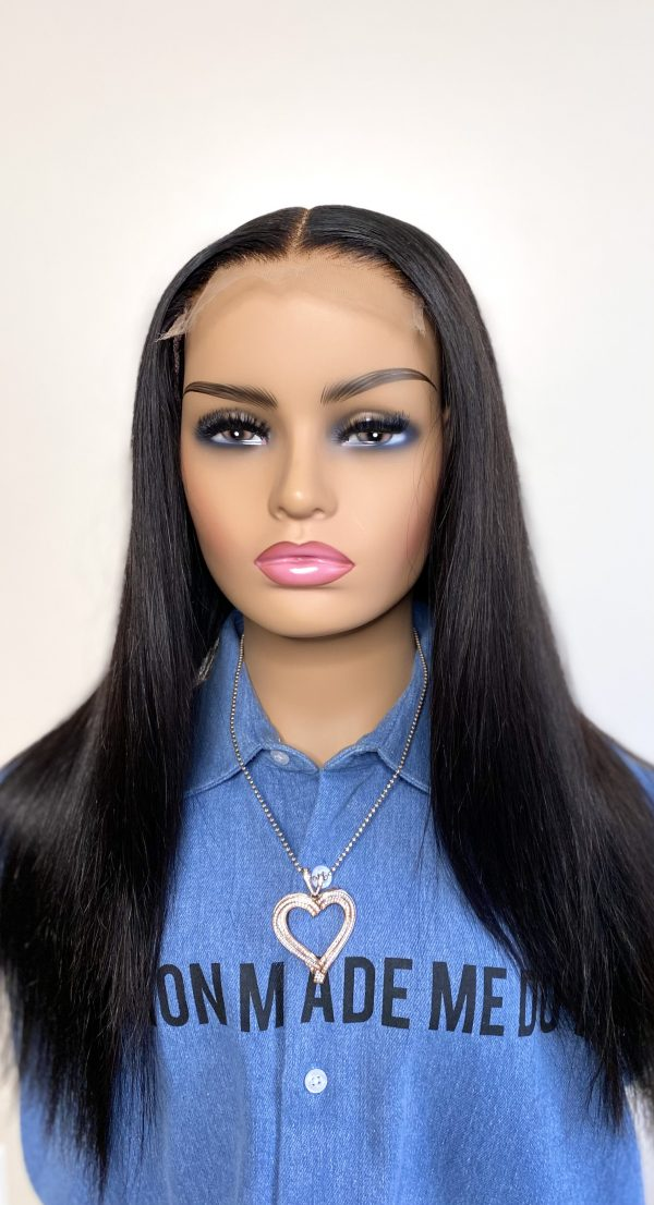 straight hair middle part wig